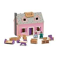 Casa de muñecas Fold and Go 13701 de Melissa & Doug con 2 muñecas y muebles de madera, rosa
