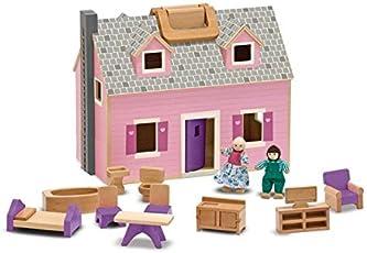 Melissa & Doug Casa de munecas de madera plegable y portatil