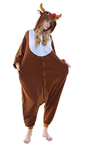 NEWCOSPLAY Unisex Adult Pyjamas Halloween Onesie Costume (Medium, Coffee Reindeer) ()