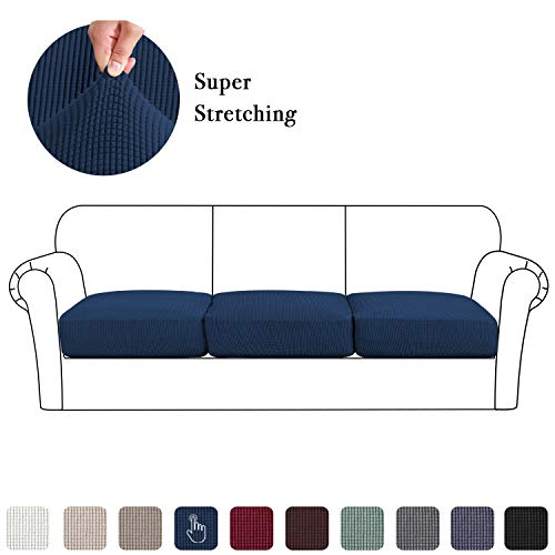 3 Pieces Jacquard High Stretch Sofa Cushion Slipcovers, Furniture Protector for Chair Loveseat Couch Seat, Spandex Washable Covering Coats (3 Pieces Cushion Covers, Navy) (Sofa Cushion Wide)