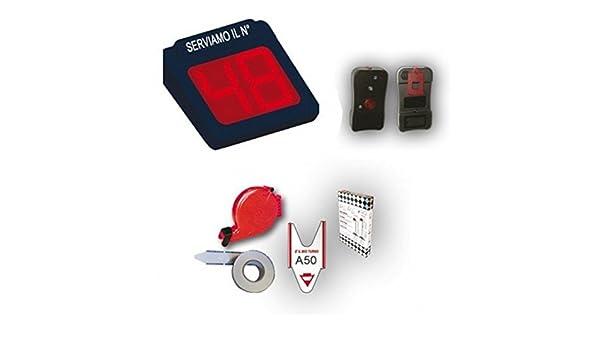 Printex sistema eliminacode electrónico - Pantalla a 2 dígitos LED rojo para gestión Code + radiocomando para Avance numérico + Dispensador Ticket + rollo ...