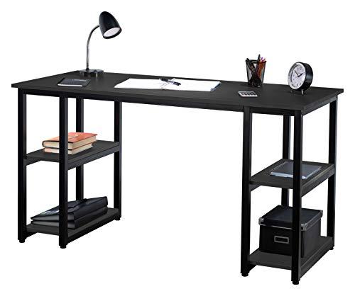 Fineboard FB-D15-BKBK Home Office Computer Desk Work Table with 4 Shelves, Black