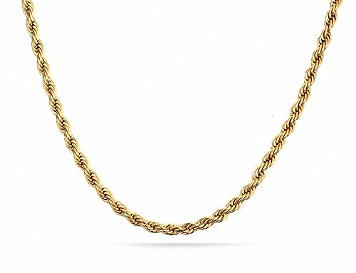 Mens Womens 3MM Stainless Steel 18K Gold Plated Twisted Rope Wheat Chain Link Necklace (Gold 18inches)