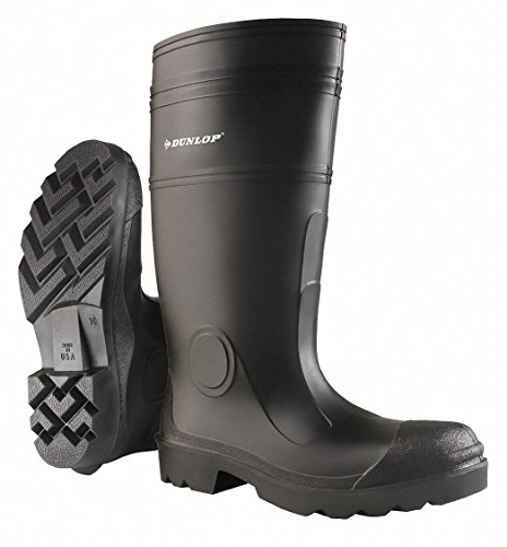 Dunlop 16h Hombres Botas A La Rodilla, Tipo: Puntera Lisa, Material De La Parte Superior De Pvc, Negro, Tamaño 13 13 Negro 874011333 - 1 Each