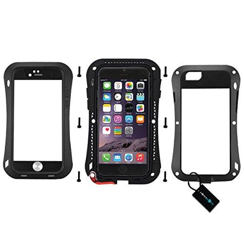 Alienwork Schutzhülle für iPhone 6 Plus/6s Plus geeignet für Fingerabdruck Hülle Case Bumper Stoßfest Staubdicht Schneedicht Metall schwarz AP6P08-01