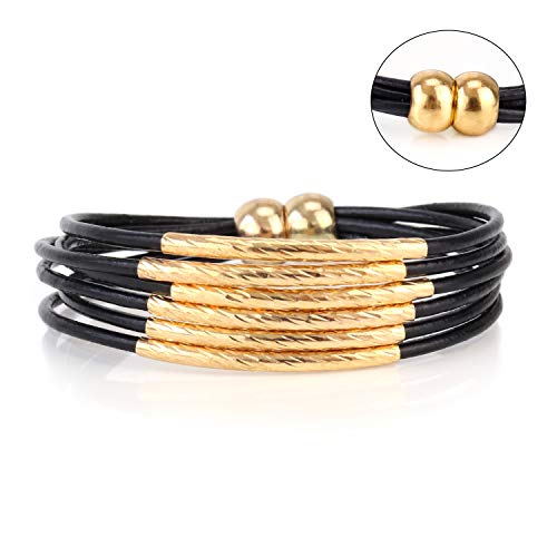 Eivanc Black Gold Stick Crystal Wrap Bracelet Leather Multi-Layer Bracelet Bead Bracelet Crystal Rhinestone Boho Handmade Jewelry Cuff Bracelet with Magnetic Clasp for Women and Girls
