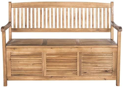 Safavieh Outdoor Collection Brisbane Teak Brown Storage Bench (Brisbane Outdoor Tables)