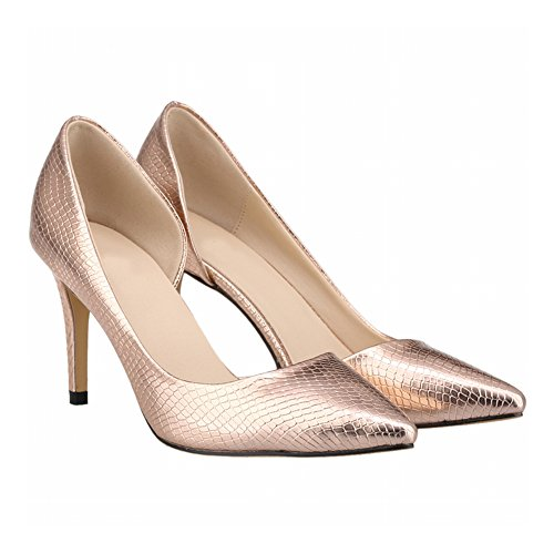 Femmes Printemps Talons Stiletto Crocodile Superficielle Bouche Side Copper Hauts Empty Meijunter Chaussures qTxY5Td