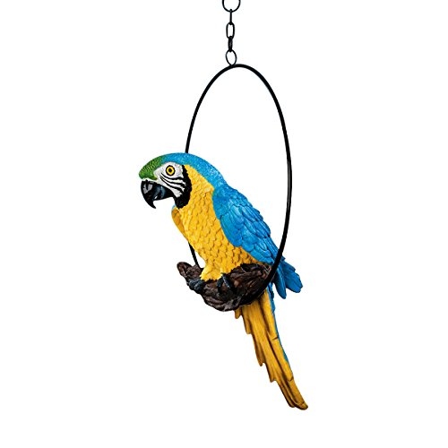 Design Toscano Polly in Paradise Parrot Hanging Bird Ring Perch Statue, Medium 14 Inch, Polyresin, Full Color
