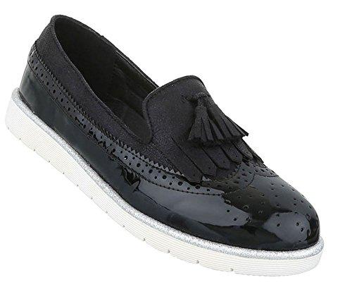 Damen Halbschuhe Schuhe Slipper Loafer Mokassins Flats Slip On Schwarz Beige Pink Weiß 36 37 38 39 40 41 Schwarz