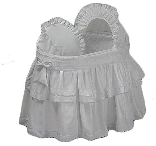 BabyDoll Pindot Bassinet Liner/Skirt and Hood, White Dots, 16''x32''