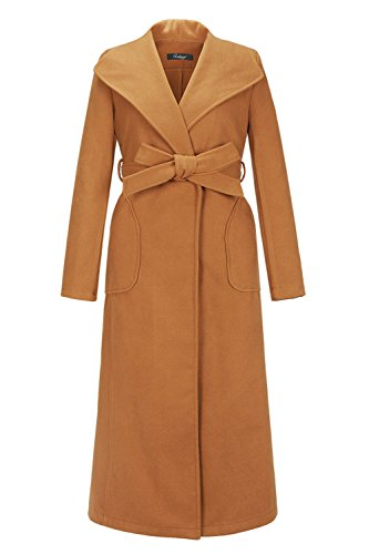 ZG&DD Women's Winter Warm Wool Long Sleeve Walking Coat with Belt Brown Large