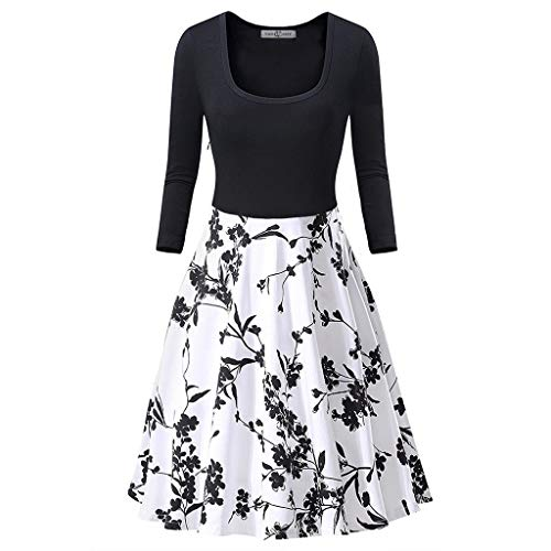 17bb80cb1a9e7 PASATO Women's Long Sleeve Round-Neck Elegant A-Line Dress Floral Print  Cocktail Party Princess Dress(Black,XXL=US:XL)
