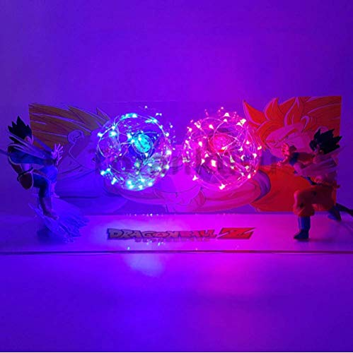 Dragon Ball Z Action Figures Goku vs Vegeta Led Figurine Toy DBZ Anime Dragon Ball Super Kamehameha Collection Model Toys (Vegeta Goku Vs)