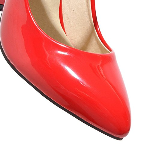 azmodo Womens Thick Heel PU Leather Dress Dancing Pumps Maryjane (US 10.5/EU 42/CN 43, Red)