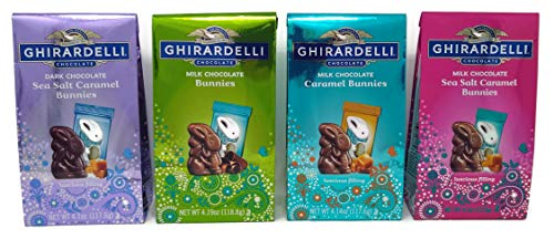 (Ghirardelli Chocolate Bunnies Easter Candy Sampler of 4 Bags - Milk Chocolate, Milk Chocolate Caramel, Milk Chocolate Sea Salt Caramel, and Dark Chocolate Sea Salt Caramel, (Easter Sampler, 4 Bags))