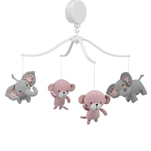 Bedtime Originals Twinkle Toes Monkey Elephant Musical Mobile, Pink/Gray by Bedtime Originals