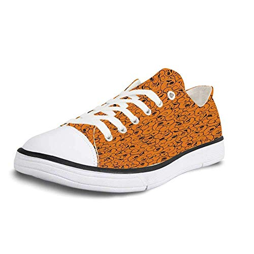 Canvas Sneaker Low Top Shoes,Halloween Floral Swirls with