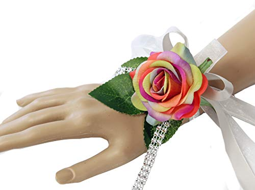 Angel Isabella, LLC Wrist Corsage-Real Touch Rose Corsage with Bling-Perfect for Father Daughter Dance Prom Wedding