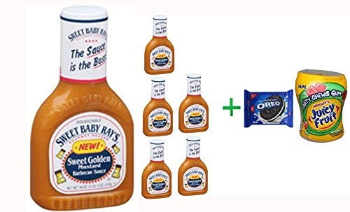 Sweet Baby Ray's Barbecue Sauce Sweet Golden Mustard, 18.0 OZ( 7 PACK ) + OREO Cookies Sandwich Chocolate - 14.3 Oz + Fruity Chews Gum Watermelon 1/60 Count