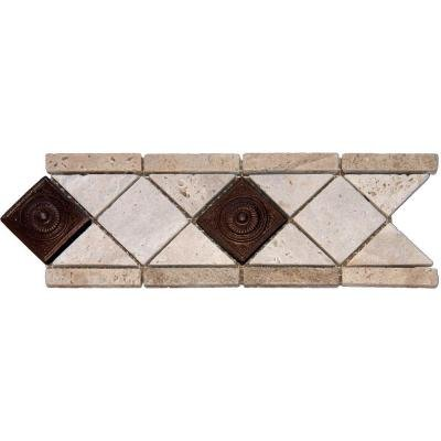 MS International 4 in. x 12 in. Noche/ Chiaro Copper Scudo Travertine/Metal Listello Floor & Wall Tile - Box of 5 Linear Feet
