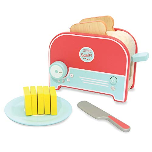 Indigo Jamm Jamm Toaster, Wooden Toy Toaster with Pretend Bread and Butter, Play Food and Kitchen Accessories