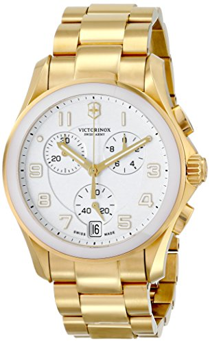 Victorinox Unisex 241537 Chrono Classic Analog Display Swiss Quartz Gold Watch