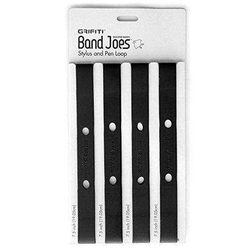 Journal Rubber Bands - Grifiti Band Joes Pen Pencil Stylus Loop 7.5 Inch 4 Pack Silicone Rubber Notebook Notepad Journal Case Strap Holder (black)