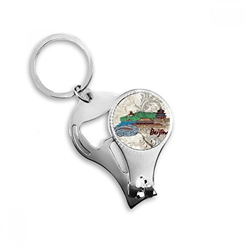 Hand-painted Tian An Men Bird Nest Beijing Cultural Elements Key Chain Ring Toe Nail Clipper Cutter Scissor Tool Kit Bottle Opener Gift (Nest Bird Beijing)