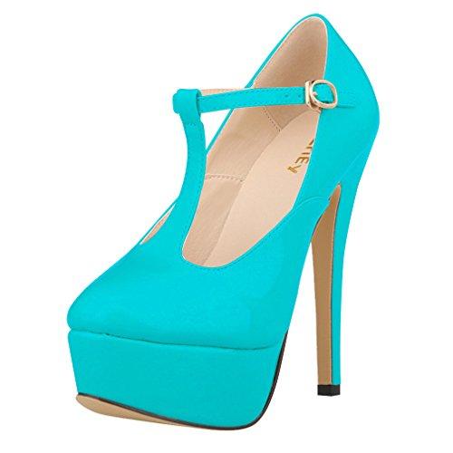 Zapatos de Xianshu Plataforma Tac bar Mujeres de la la T Patentes de Cuero Correa de wq7IFHxq