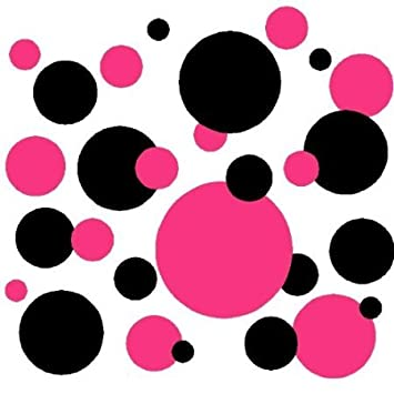 Set Of 130 Hot Pink And Black Polka Dots Wall Graphic Vinyl