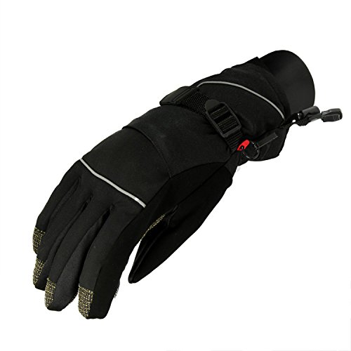 Christmas Central CC WMNS S Women's Black Softshell Winter Thinsulate Insulated Touchscreen Ski Freestyle Gloves-Small ()