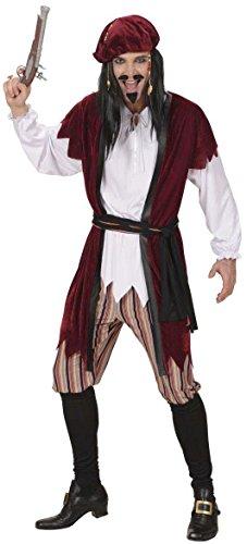 Pirates Caribbean Costumes Uk (Mens Caribbean Pirate Burgundy Costume Large Uk 42/44