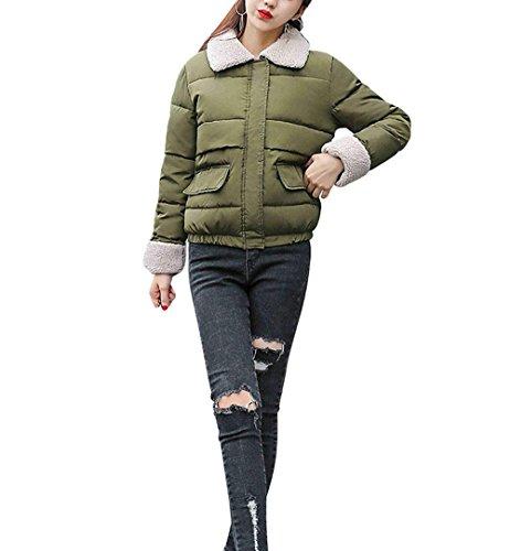 Down Jacket Jacket New Fashion Slim Ultra-Lightweight Loose Cotton Coat Thick Lapel Jacket Coat GREEN-L