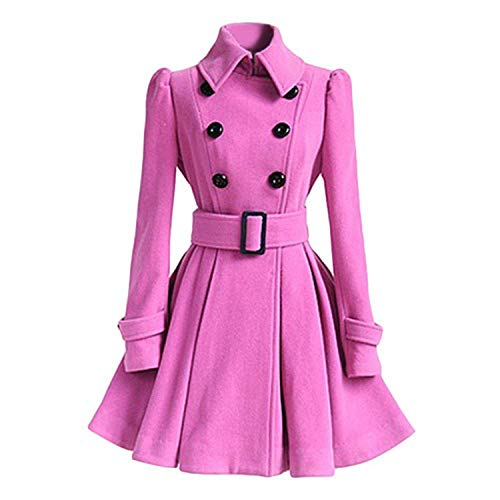 (Sexy Stores Autumn Winter Women Overcoat Slim A-Line Solid Sash Double-Breasted Lapel Neck Mid-Long Coat,Pink,M)