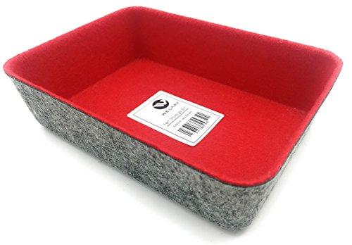 Welaxy Felt Makeup Jewelry Organizer Tray Bins Drawer Divider Storage bin(RED)