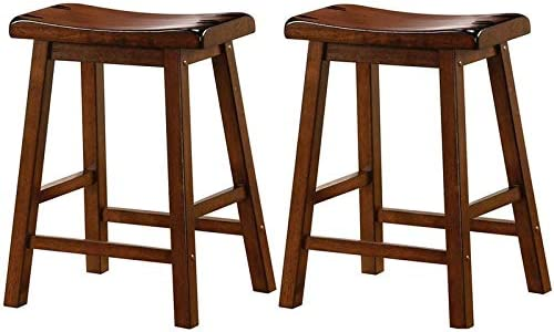 BOWERY HILL 24 Contemporary Style Wooden Backless Counter Stool in Dark Walnut Set of 2