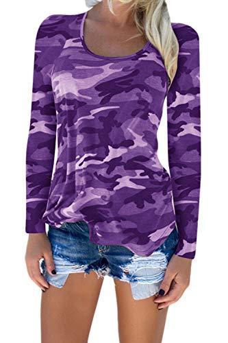 Le Donne Si Tshirts Mimetizzazione Camicia Slim Fit Magliette al Massimo in pi