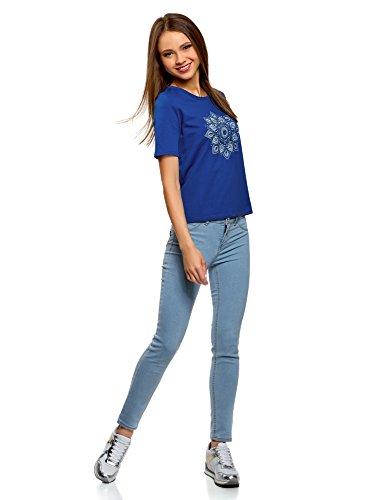 Cotone con 7570p Donna Stampa T Shirt Ultra oodji in Blu 7WRcqXTyny