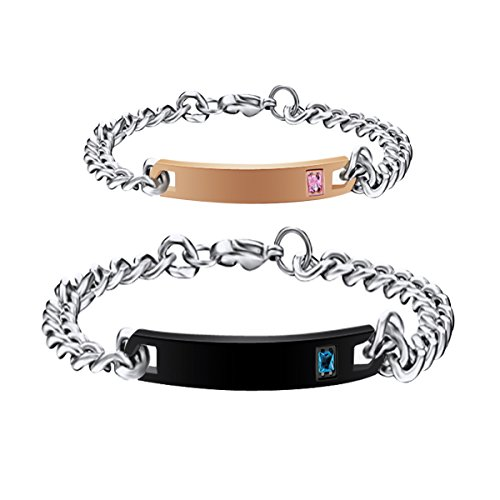 Personalized His and Hers Matching Couples Bracelets Set, Women's Men's Titanium Stainless Steel Engraved Custom Name Plate ID Wrist Bangles Bar Link Curb Chain Bracelet Fashion Jewelry Gift For ()