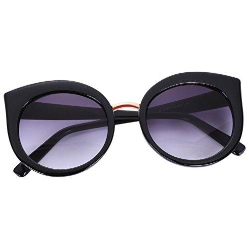 ojo moda TOOGOO de sol de de Negro verano Lente espejo marco de S17023 gafas de sol sombras clasicas gato UV400 Gafas de mujer Negro Gafas qPqr04f