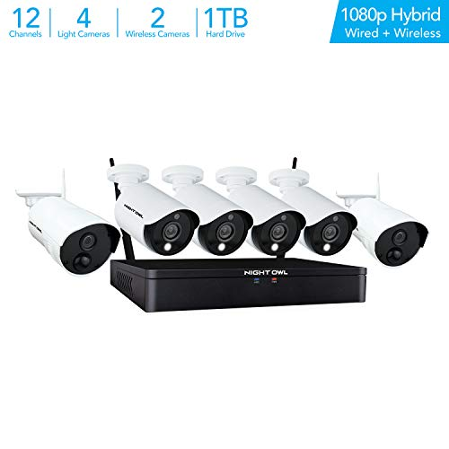 Night Owl Home Security Camera System with 4 Wired and 2 Wireless 1080p HD Indoor/Outdoor Cameras with Night Vision (Expand up to a Total of 8 Wired Cameras and 4 Wireless Devices), 1 TB Hard Drive