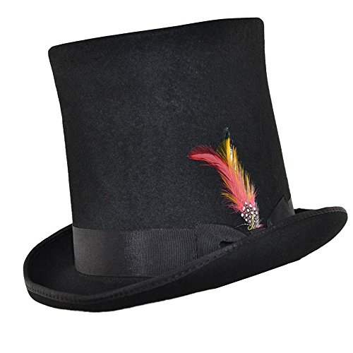 Lincoln Stove Pipe - Express Hats Stove Pipe Lincoln Victorian Steam Punk Wool Felt Tall Top Hat (XLarge - 61cm)