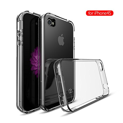 Apple iPhone 4 | 4S Clear Case, Case Army Scratch-Resistant Slim TPU Case for iPhone 4 | 4S | 4G Hard Shell Back Soft Sides Bumper Silicone Rubber Shock-Dispersion Cover (Limited (Iphone 4 Bumper Clear)