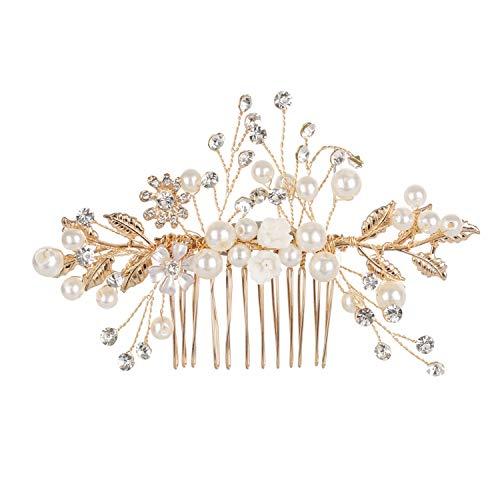 Rhinestones Pearls Flower Hair Comb Bridal Hair Accessories Bridesmaid Tiara Wedding Jewelry,2 ()