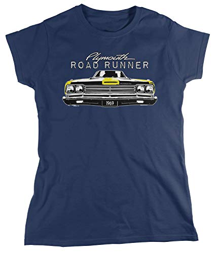 Amdesco Women's Plymouth Road Runner Officially Licensed T-Shirt, Navy Blue Large ()