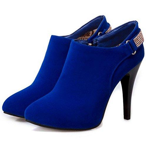COOLCEPT Women Western Spike Heel Zipper Dress Booties Blue kYi7COrx