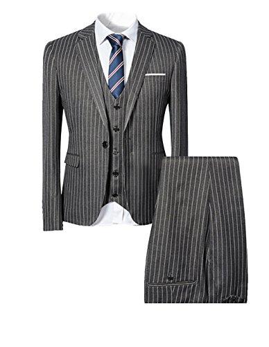 Cloudstyle Mens Pinstripe 3 Piece Slim Fit Suit Smart Wedding Blazer Jacket Tux Vest & Trousers (X-Large, Grey) (Grey Pinstripe Suit Jacket)
