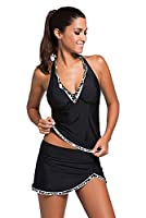 Womens Swimsuit Halter Tankini Top and Skort Bottom Set bathing suits,Large,Black and white Lace