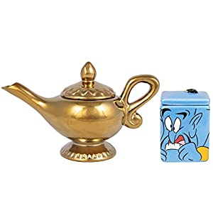 Disney Aladdin Ceramic Sugar and Creamer Set – Genie and Lamp Classic Design – Official Disney Kitchen and Party Decor